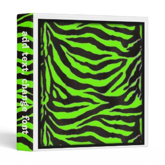 Neon Green Zebra Skin Texture Background 3 Ring Binders