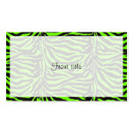 Neon Green Zebra Skin Texture Background Business Card Templates