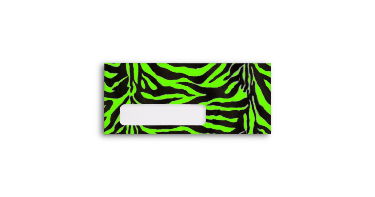 Neon Green Zebra Skin Texture Background Envelope  Zazzle