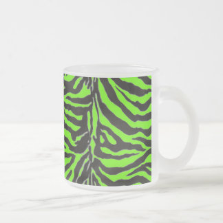 Neon Green Zebra Skin Texture Background Frosted Glass Coffee Mug