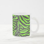 Neon Green Zebra Skin Texture Background Mugs