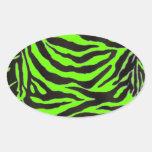 Neon Green Zebra Skin Texture Background Oval Stickers