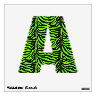 Neon Green Zebra Skin Texture Background Wall Sticker