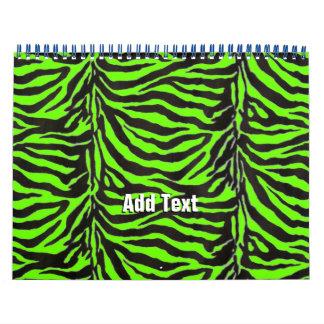 Neon Green Zebra Skin Texture Background Calendar