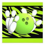 Neon Green Zebra Stripe Bowling Party 5.25x5.25 Square Paper Invitation Card