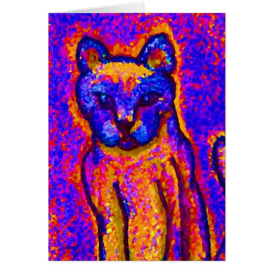 Neon Grey Cat  CricketDiane Art & Design Card