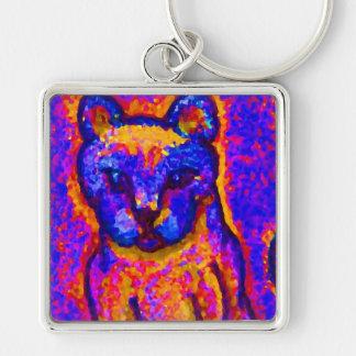Neon Grey Cat  CricketDiane Art & Design Key Chain
