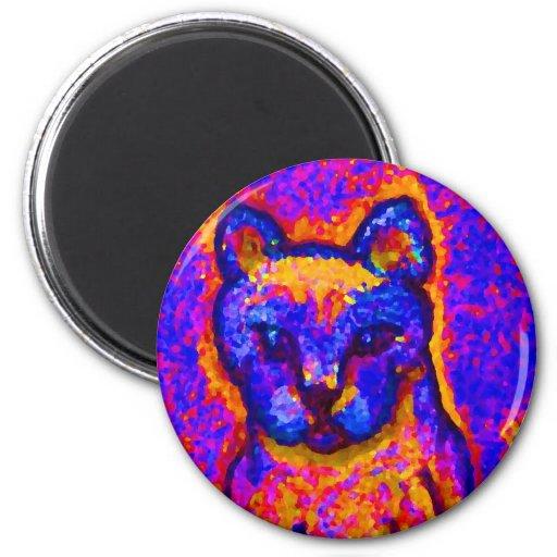 Neon Grey Cat  CricketDiane Art & Design 2 Inch Round Magnet