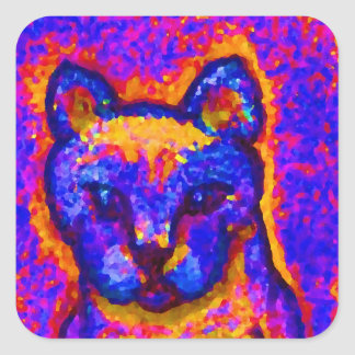 Neon Grey Cat  CricketDiane Art & Design Square Sticker