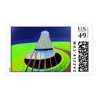 neon guitar stamp