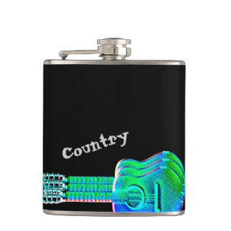 Neon Guitars Country Music Fan or Musician Flask