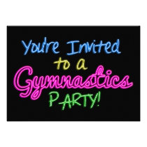 Neon Gymnastics Party Invitation Card