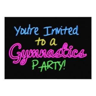 Neon Gymnastics Party Invitation Card
