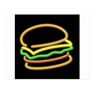 Neon Hamburger Postcard