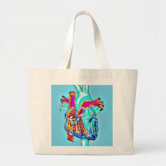 Neon Hand Drawn Anatomical Heart Jumbo Tote Bag