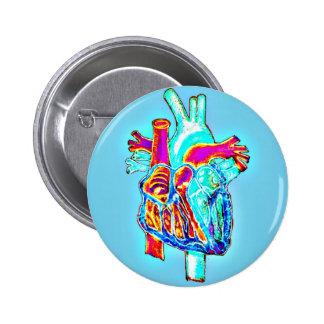 Neon Hand Drawn Anatomical Heart Pinback Button