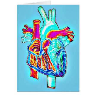 Neon Hand Drawn Anatomical Heart Card