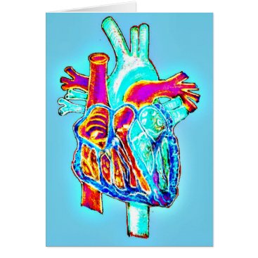 Valentines Themed Neon Hand Drawn Anatomical Heart Card