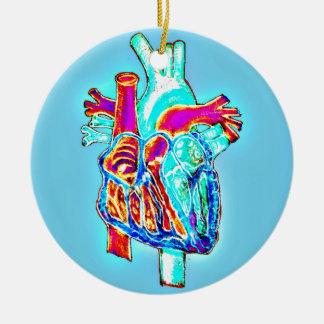 Neon Hand Drawn Anatomical Heart Ceramic Ornament