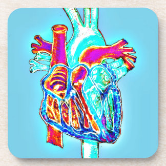 Neon Hand Drawn Anatomical Heart Drink Coaster