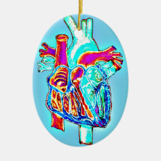 Neon Hand Drawn Anatomical Heart Double-Sided Oval Ceramic Christmas Ornament