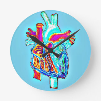 Neon Hand Drawn Anatomical Heart Round Clock