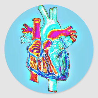 Neon Hand Drawn Anatomical Heart Stickers