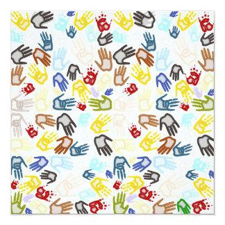 Neon Handprints on Blank (Add Background Color) 5.25x5.25 Square Paper Invitation Card