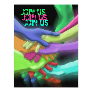 """NEON HANDS """"JOIN US"""" GRADUATION PARTY INVITATION"""
