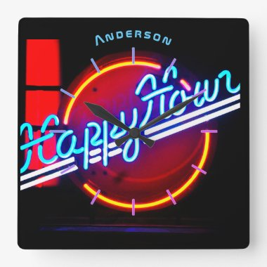 Neon Happy Hour Bar Den Mancave Personalized Wall Square Wall Clock