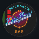 """Neon Happyhour Home Bar Decor Personalized Mancave Large Clock<br><div class=""""desc"""">* neon look print only, not actula neon lights. Fun and modern this neon sign themed happyhour wall clock makes a great gift for a man or woman or a couple who has a home bar and loves fun homebar decor and decorations. Add a name to make this bar clock...</div>"""