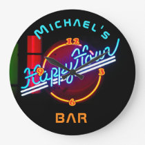 Neon Happyhour Home Bar Decor Personalized Mancave Large Clock