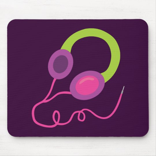 Neon Headphones Mouse Pad