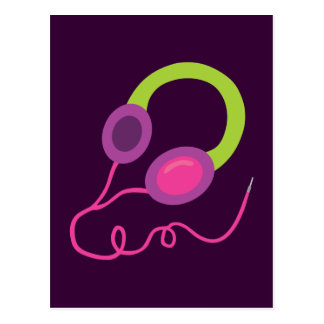 Neon Headphones Postcard