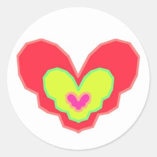 Neon Heart Essence Classic Round Sticker