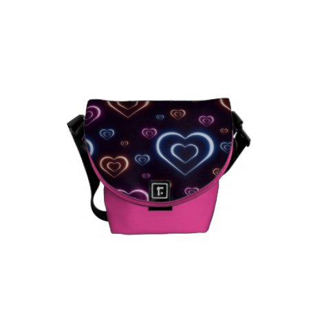 Neon hearts courier bag