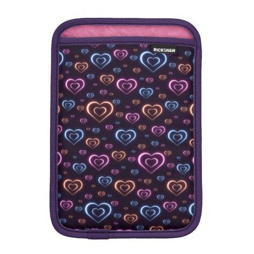 Neon hearts iPad mini sleeve