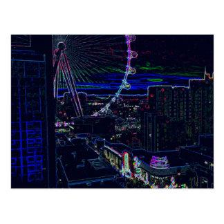 Neon High Roller Ferris Wheel Abstract Vegas Postcard