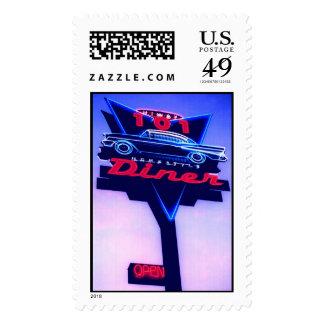 neon highway 101 diner postage stamp
