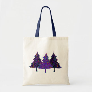 Neon Holiday Trees Budget Tote Bag