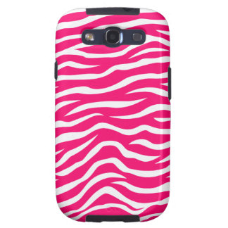 Neon Hot Pink and White Animal Print Zebra Stripes Galaxy SIII Cover