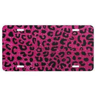 Neon hot pink cheetah print license plate