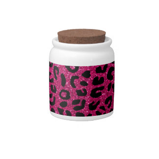 Neon hot pink cheetah print pattern candy dishes