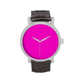 Neon Hot Pink Color Trend Blank Template Wristwatch