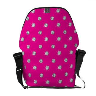 Neon hot pink diamonds courier bag