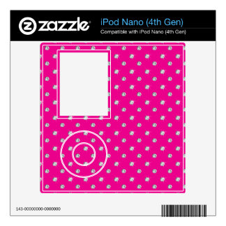 Neon hot pink diamonds decals for the iPod nano