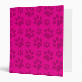 Neon hot pink dog paw print pattern vinyl binder