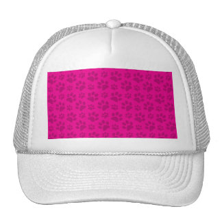 Neon hot pink dog paw print pattern hat