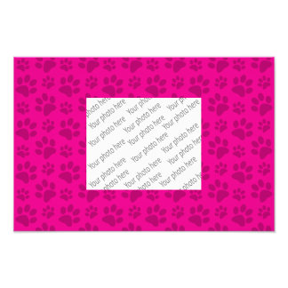 Neon hot pink dog paw print pattern photo print