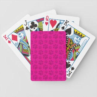 Neon hot pink dog paw print pattern card decks